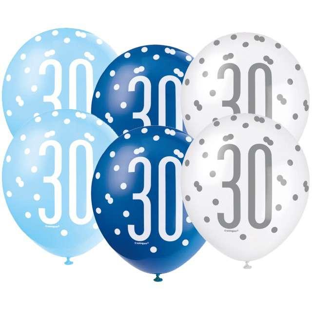"""Balony """"30 Urodziny - Glitz Grochy"""", pastel mix, UNIQUE, 12"""", 6 szt"""