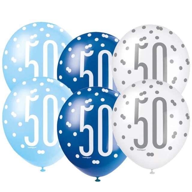"""Balony """"50 Urodziny - Glitz Grochy"""", pastel mix, UNIQUE, 12"""", 6 szt"""