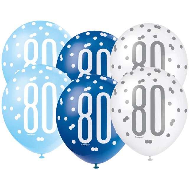 """Balony """"80 Urodziny - Glitz Grochy"""", pastel mix, UNIQUE, 12"""", 6 szt"""