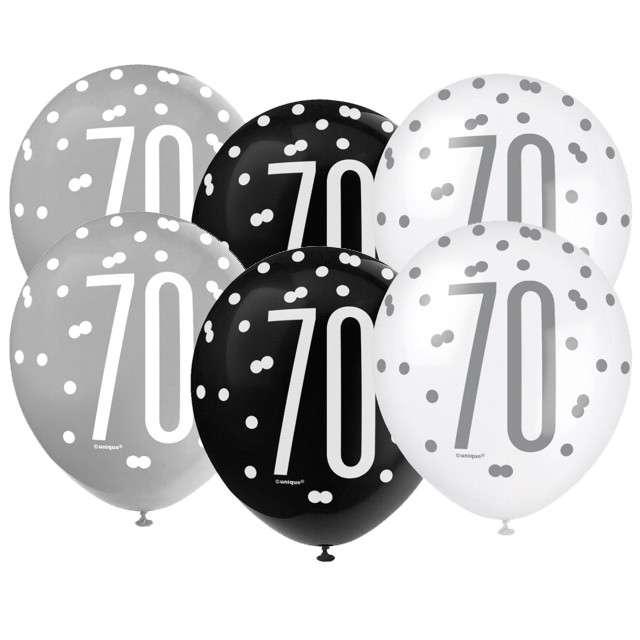 """Balony """"70 Urodziny - Glitz Grochy"""", pastel mix, UNIQUE, 12"""", 6 szt"""