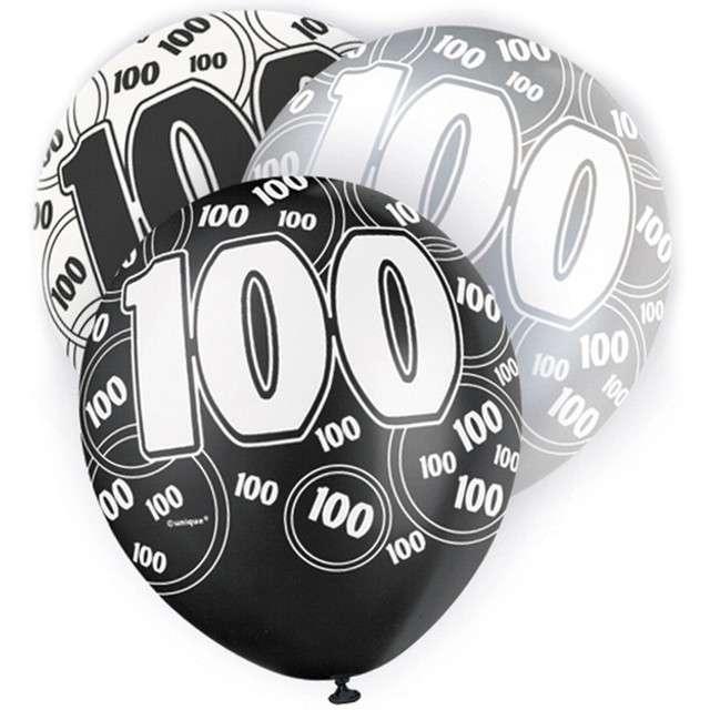 "Balony ""100 Urodziny - Glitz"", pastel mix, UNIQUE, 12"", 6 szt"