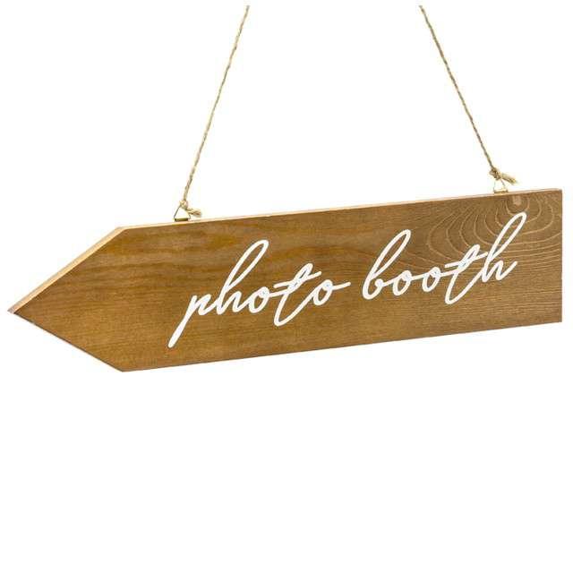 """Dekoracja """"Photo Booth - Drogowskaz"""", drewniany, PartyDeco, 36x7,5 cm"""