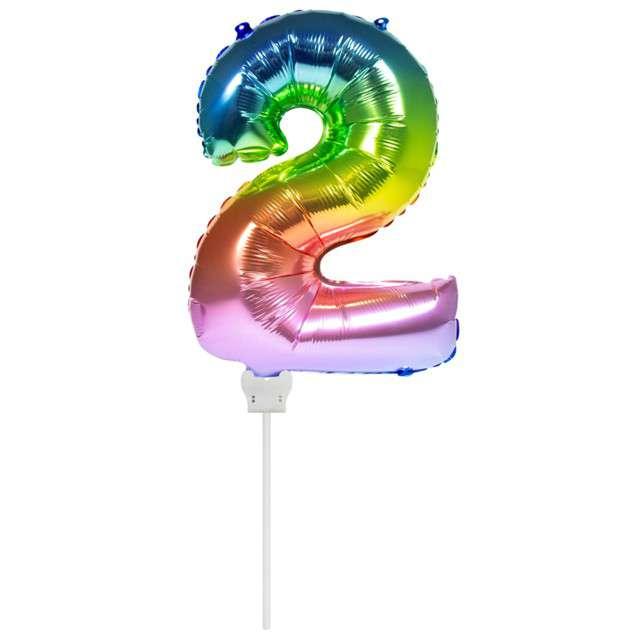 """Balon foliowy """"Cyfra 2 - Mini"""", 14"""", FOLAT, tęczowy"""