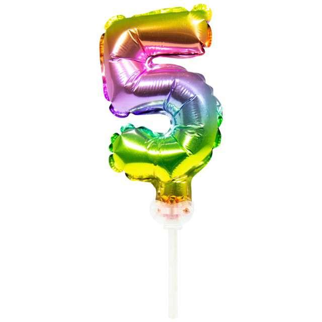 """Balon foliowy """"Cyfra 5 - Micro"""", 5"""", FOLAT, tęczowy"""