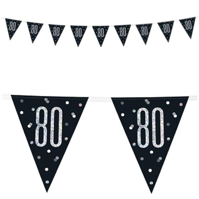 """Baner flagi """"80 Urodziny - Glitz Holo"""", UNIQUE, 274 cm"""