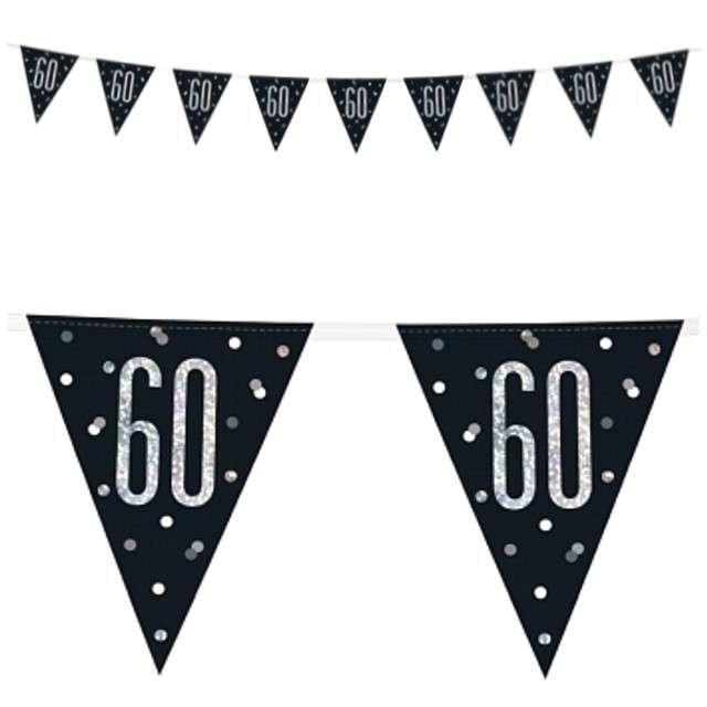 """Baner flagi """"60 Urodziny - Glitz Holo"""", UNIQUE, 274 cm"""