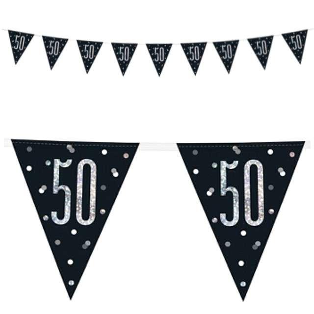 """Baner flagi """"50 Urodziny - Glitz Holo"""", UNIQUE, 274 cm"""