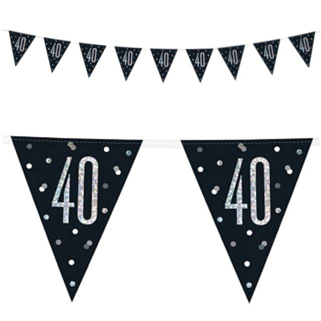"""Baner flagi """"40 Urodziny - Glitz Holo"""", UNIQUE, 274 cm"""