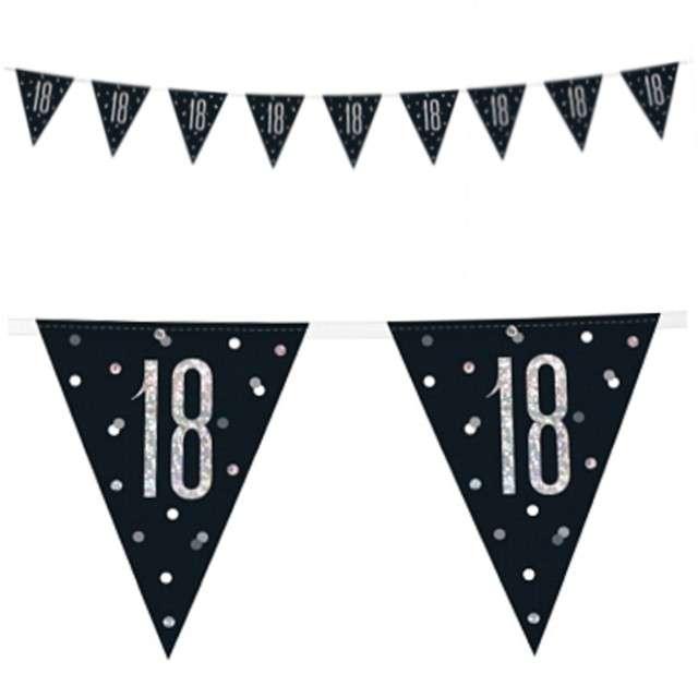"""Baner flagi """"18 Urodziny - Glitz Holo"""", UNIQUE, 274 cm"""