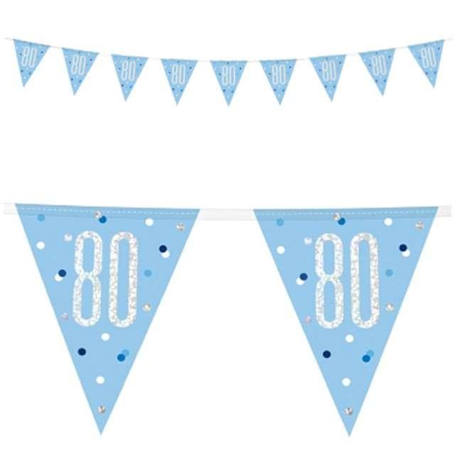 """Baner flagi """"80 Urodziny - Glitz Holo"""", niebieski, UNIQUE, 274 cm"""