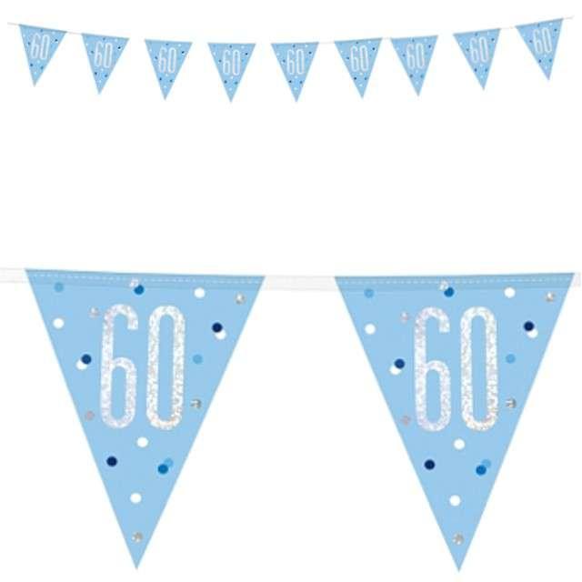 """Baner flagi """"60 Urodziny - Glitz Holo"""", niebieski, UNIQUE, 274 cm"""
