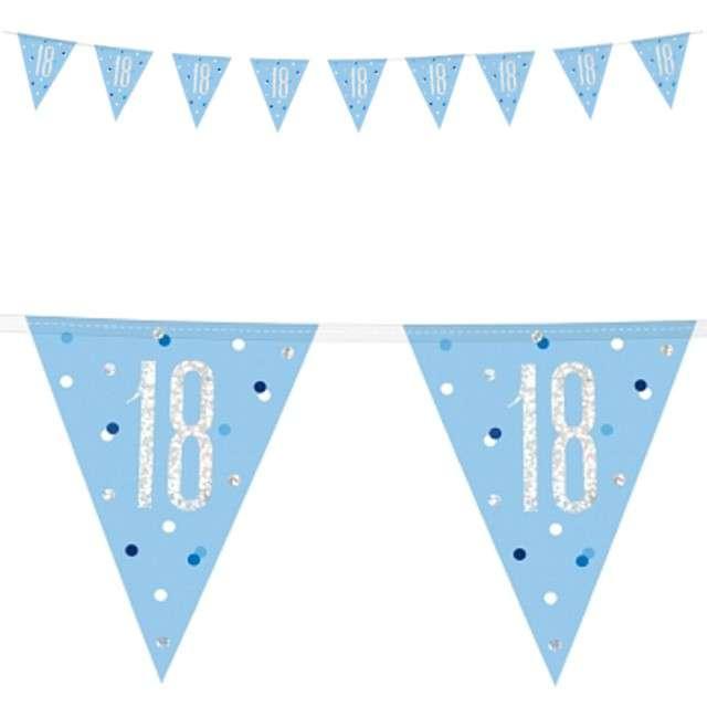 """Baner flagi """"18 Urodziny - Glitz Holo"""", niebieski, UNIQUE, 274 c"""