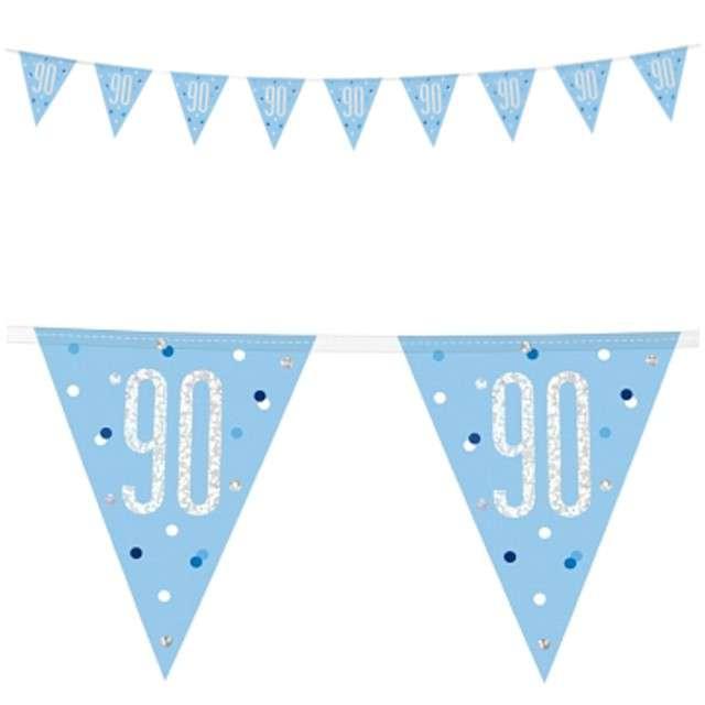"""Baner flagi """"90 Urodziny - Glitz Holo"""", niebieski, UNIQUE, 274 cm"""