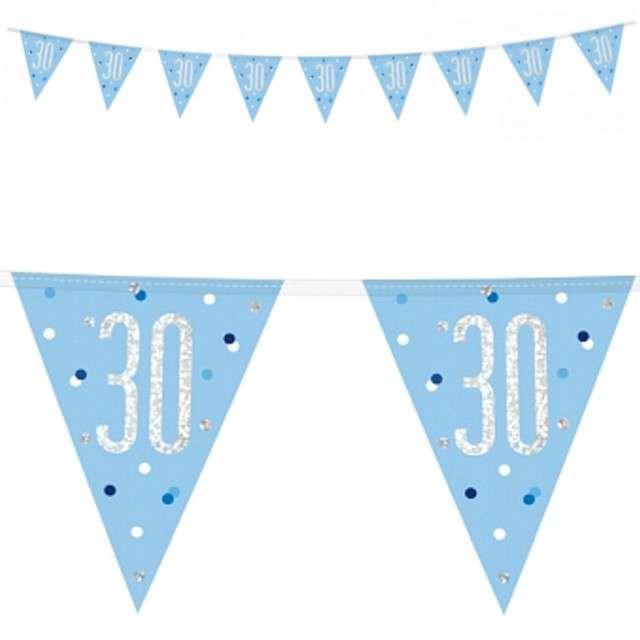 """Baner flagi """"30 Urodziny - Glitz Holo"""", niebieski, UNIQUE, 274 c"""
