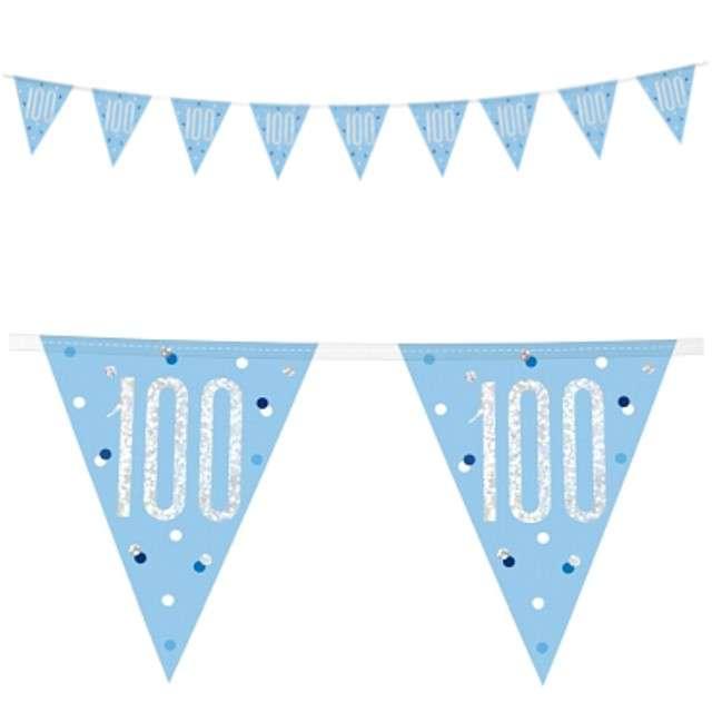 """Baner flagi """"100 Urodziny - Glitz Holo"""", niebieski, UNIQUE, 274 cm"""