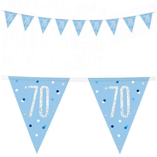 """Baner flagi """"70 Urodziny - Glitz Holo"""", niebieski, UNIQUE, 274 cm"""