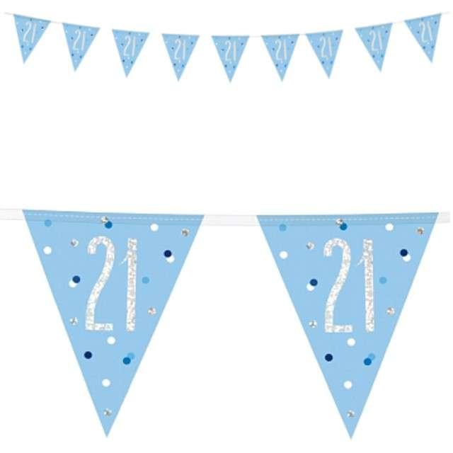 """Baner flagi """"21 Urodziny - Glitz Holo"""", niebieski, UNIQUE, 274 c"""