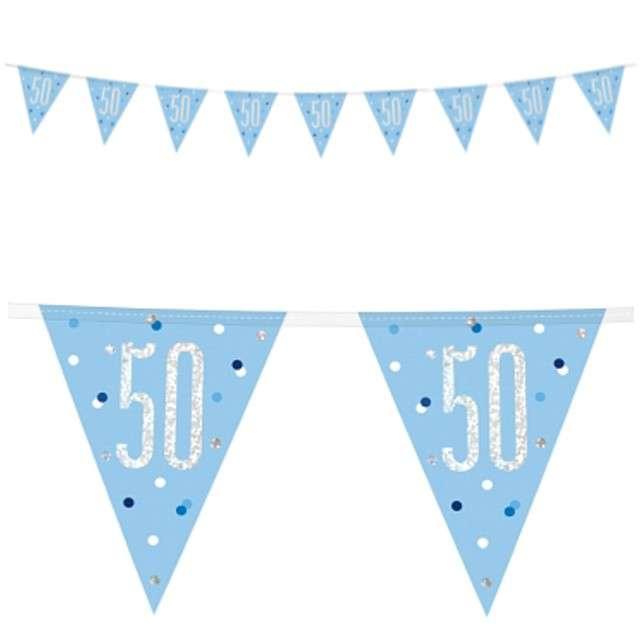 """Baner flagi """"50 Urodziny - Glitz Holo"""", niebieski, UNIQUE, 274 cm"""