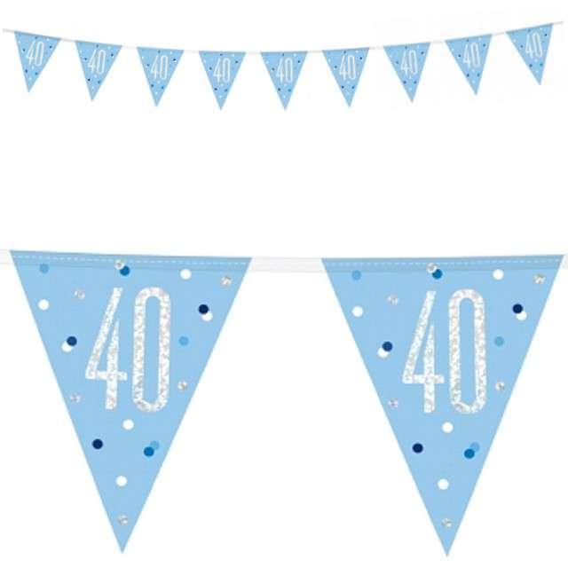 """Baner flagi """"40 Urodziny - Glitz Holo"""", niebieski, UNIQUE, 274 cm"""