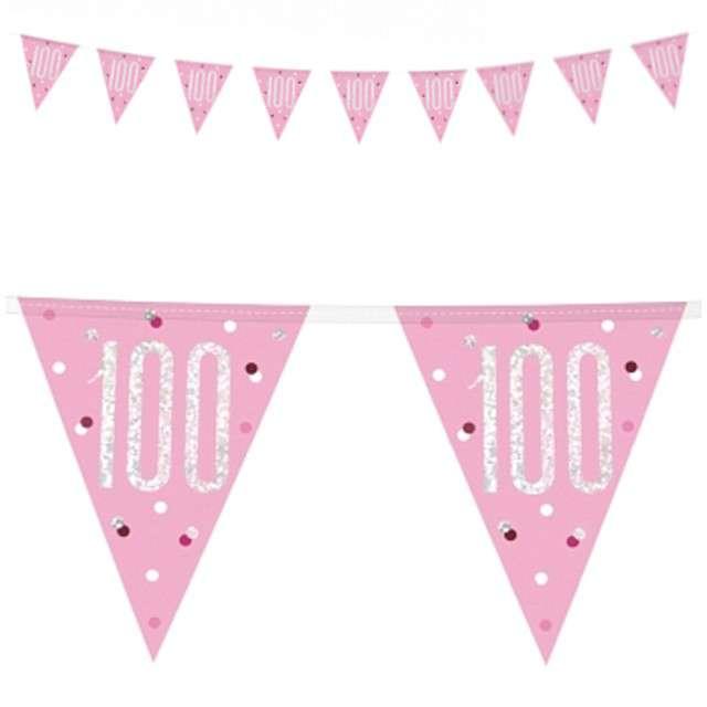 """Baner flagi """"100 Urodziny - Glitz Holo"""", różowy, UNIQUE, 274 cm"""