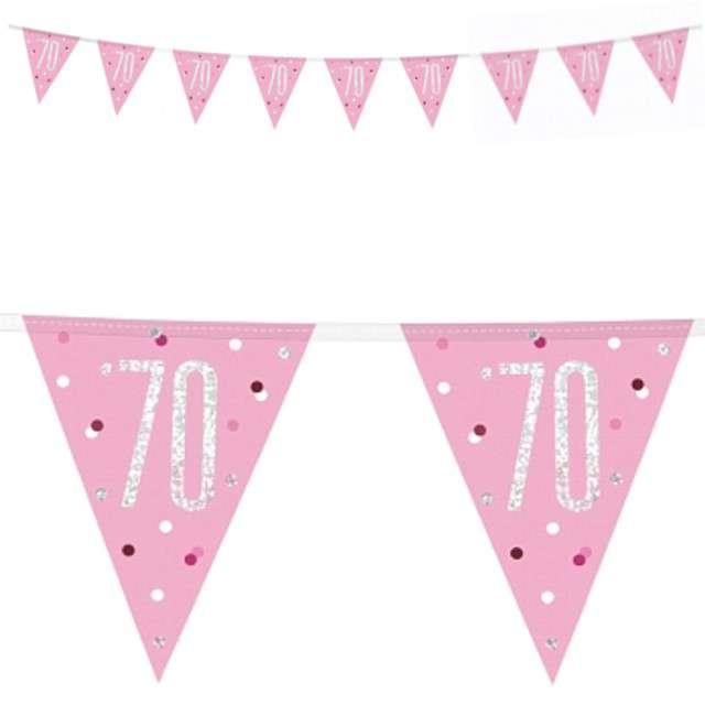"""Baner flagi """"70 Urodziny - Glitz Holo"""", różowy, UNIQUE, 274 cm"""