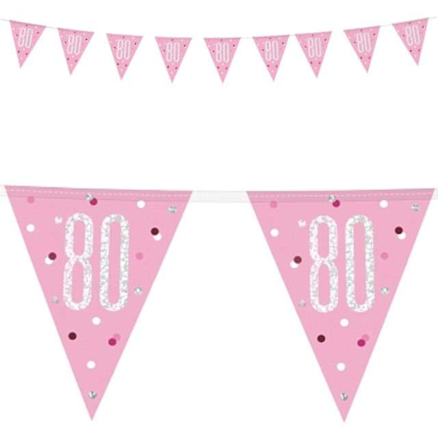 """Baner flagi """"80 Urodziny - Glitz Holo"""", różowy, UNIQUE, 274 cm"""