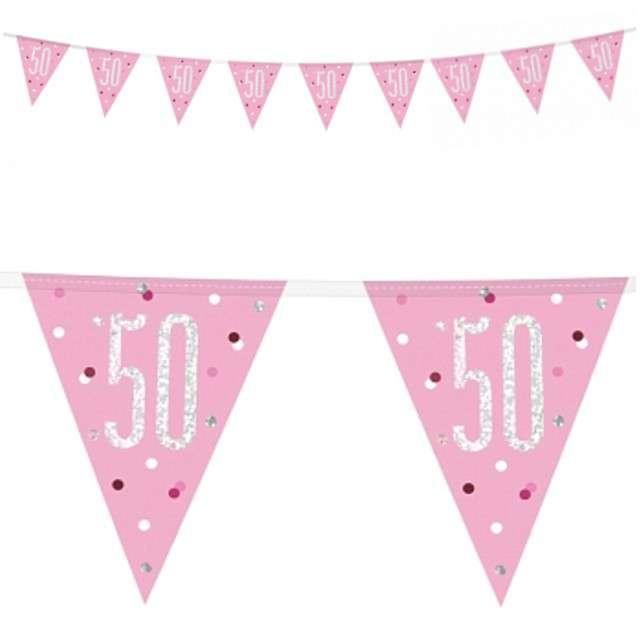 """Baner flagi """"50 Urodziny - Glitz Holo"""", różowy, UNIQUE, 274 cm"""