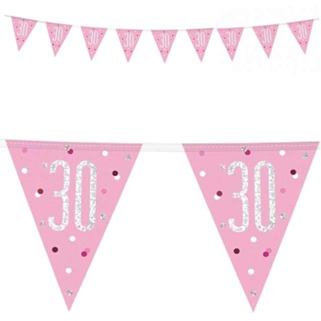 """Baner flagi """"30 Urodziny - Glitz Holo"""", różowy, UNIQUE, 274 cm"""
