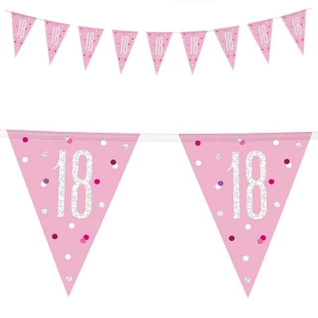 """Baner flagi """"18 Urodziny - Glitz Holo"""", różowy, UNIQUE, 274 cm"""
