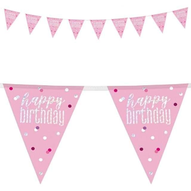"""Baner flagi """"Happy Birthday - Urodziny - Glitz Holo"""", różowy, UNIQUE, 274 cm"""