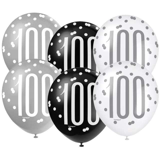 """Balony """"100 Urodziny - Glitz Grochy"""", pastel mix, UNIQUE, 12"""", 6 szt"""