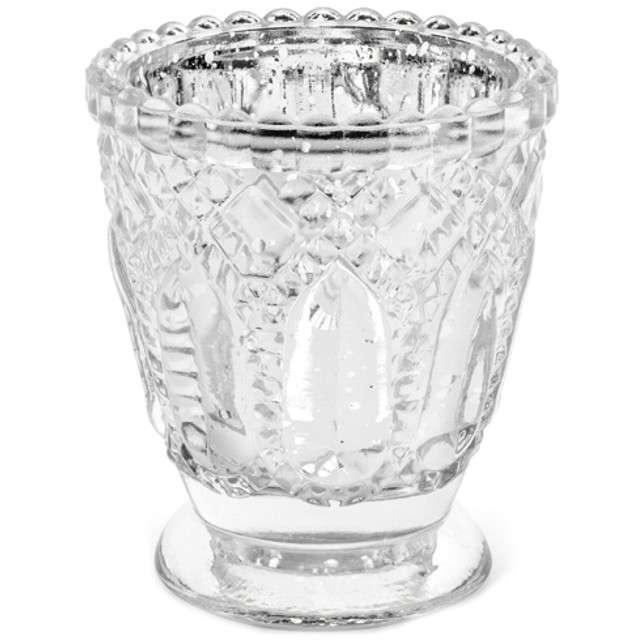 "Świecznik ""Ornament"", srebrny, PartyDeco, szklany, 8x7 cm, 4 szt"
