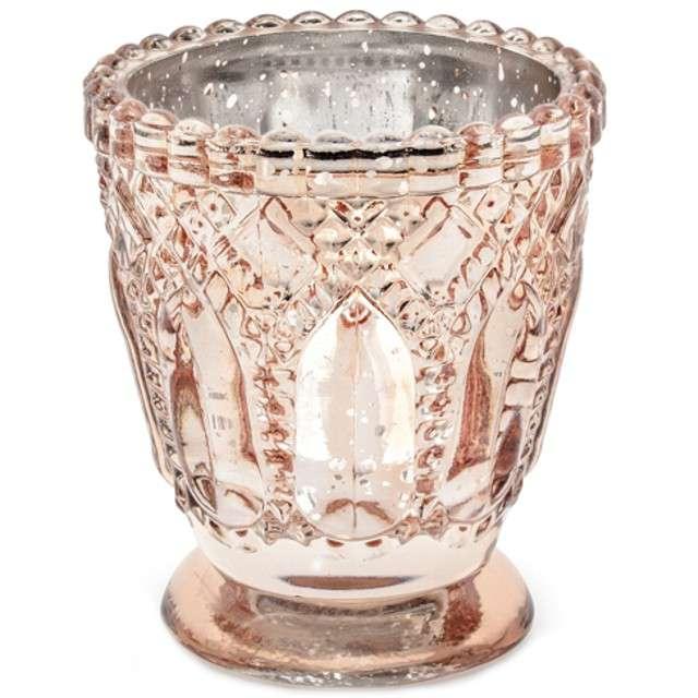 """Świecznik """"Ornament"""", różowo-złoty, PartyDeco, szklany, 8x7 cm, 4 szt"""