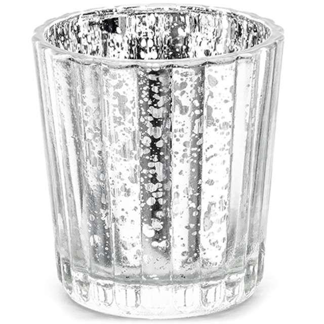 "Świecznik ""Saints"", srebrny, PartyDeco, szklany, 6x5,5 cm, 4 szt"