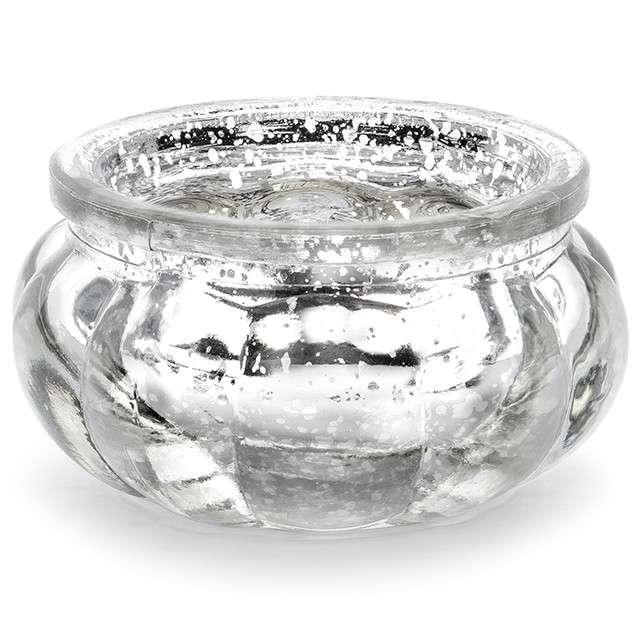 """Świecznik """"Glassy"""", srebrny, PartyDeco, szklany, 6x3 cm, 4 szt"""