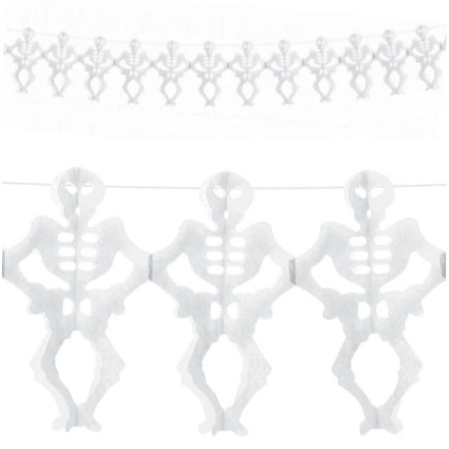 """Girlanda bibułowa """"Szkieletory"""", biała, PartyDeco, 300 cm"""