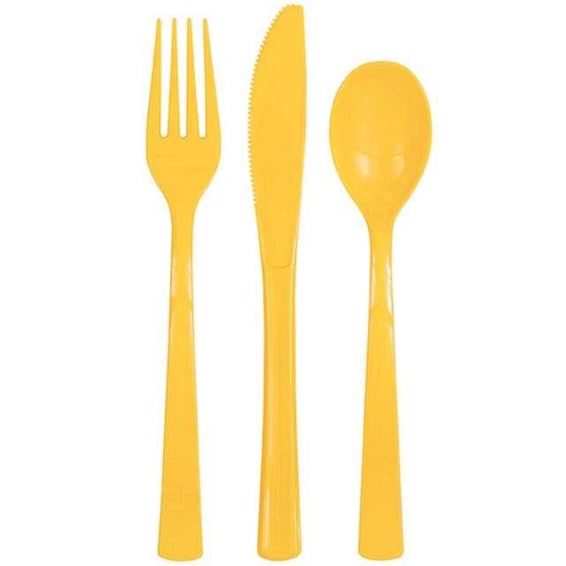 """Sztućce plastikowe """"Classic"""", żółty, 18 szt"""