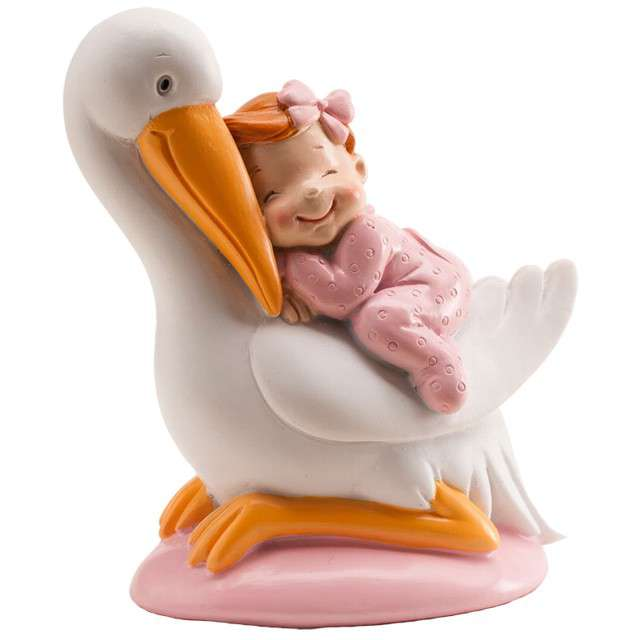 Figurka na tort Baby Shower Girl - Bocian DEKORA 10 cm