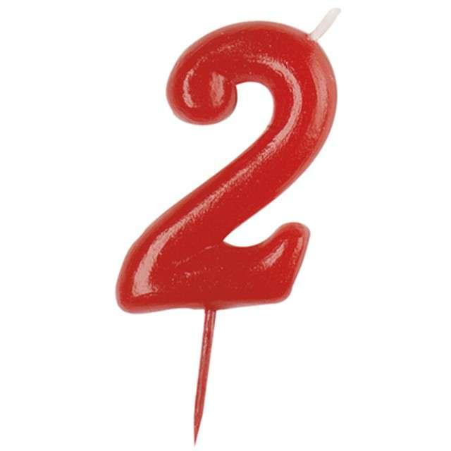 """Świeczka na tort """"Cyfra 2"""", czerwona, DEKORA, 5,5 cm"""