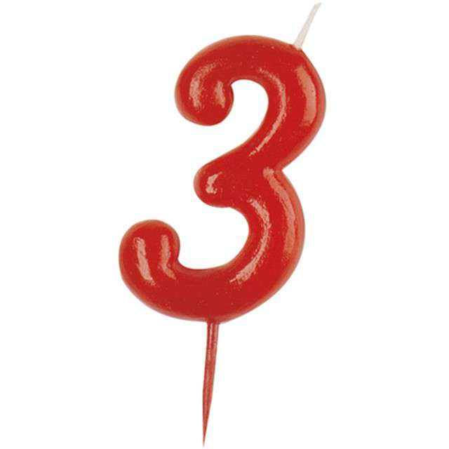 """Świeczka na tort """"Cyfra 3"""", czerwona, DEKORA, 5,5 cm"""