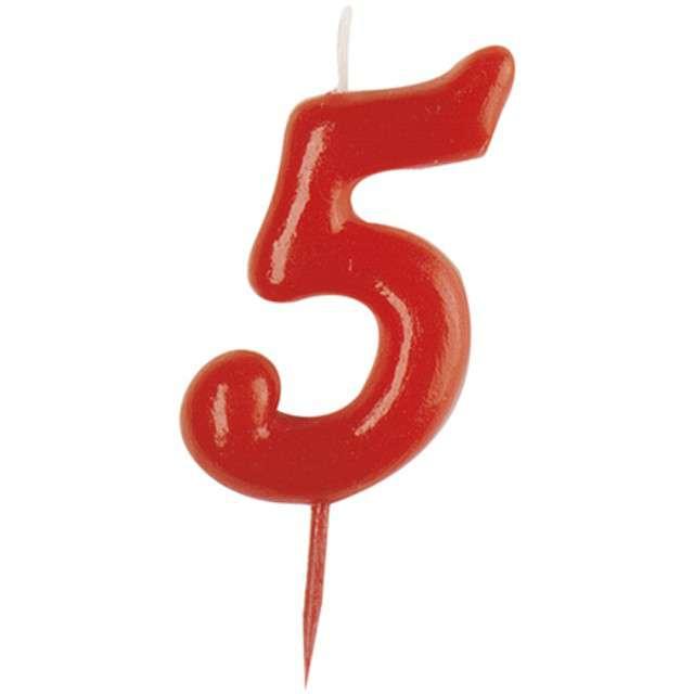 """Świeczka na tort """"Cyfra 5"""", czerwona, DEKORA, 5,5 cm"""
