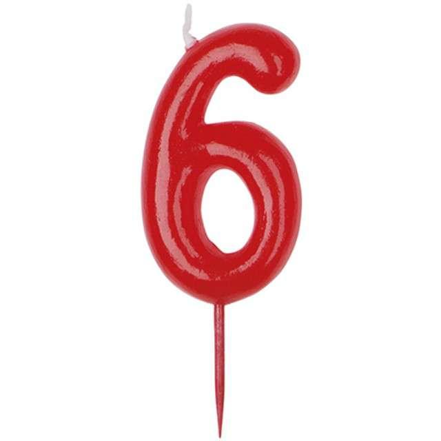 """Świeczka na tort """"Cyfra 6"""", czerwona, DEKORA, 5,5 cm"""