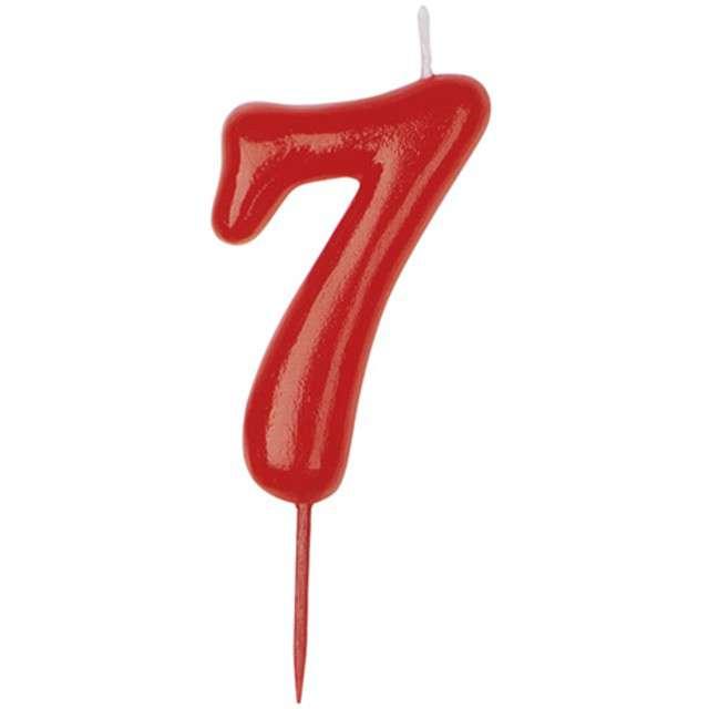 """Świeczka na tort """"Cyfra 7"""", czerwona, DEKORA, 5,5 cm"""