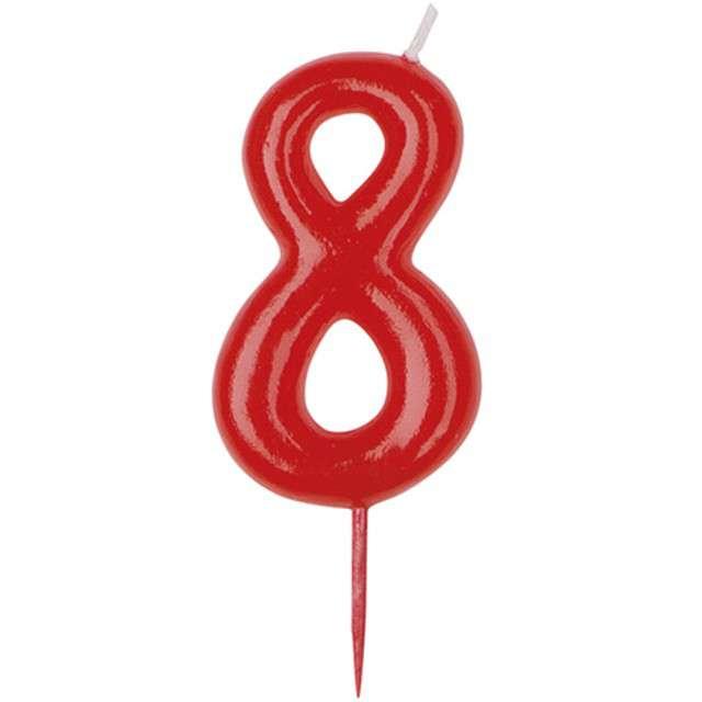 """Świeczka na tort """"Cyfra 8"""", czerwona, DEKORA, 5,5 cm"""