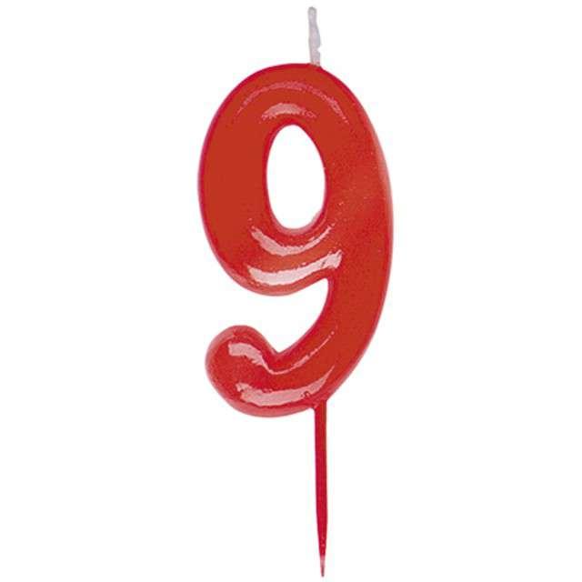 """Świeczka na tort """"Cyfra 9"""", czerwona, DEKORA, 5,5 cm"""