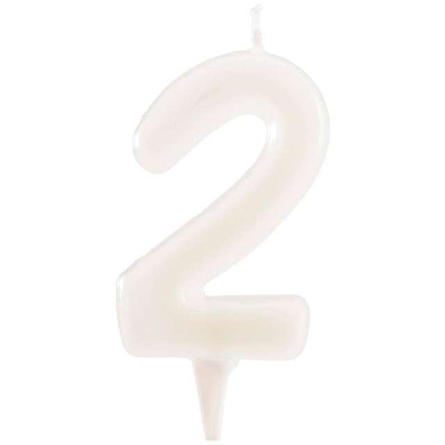 """Świeczka na tort """"Cyfra 2"""", fluo, DEKORA 6 cm"""