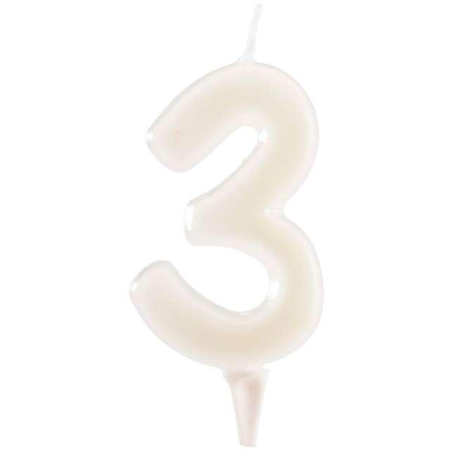"""Świeczka na tort """"Cyfra 3"""", fluo, DEKORA 6 cm"""
