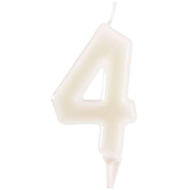 """Świeczka na tort """"Cyfra 4"""", fluo, DEKORA 6 cm"""