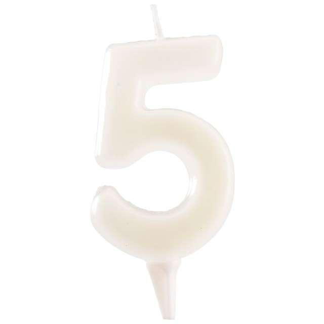 """Świeczka na tort """"Cyfra 5"""", fluo, DEKORA 6 cm"""