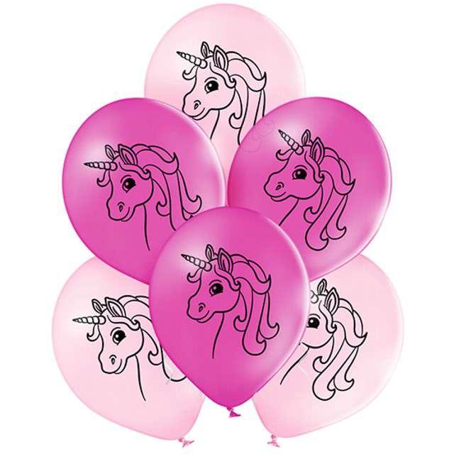 """Balony """"Jednorożce"""", pastel różowe, BELBAL, 10"""", 6 szt"""